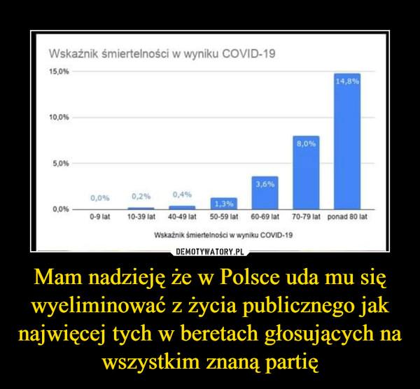 Mam nadzieję że w Polsce uda mu się wyeliminować z życia publicznego jak najwięcej tych w beretach głosujących na wszystkim znaną partię –