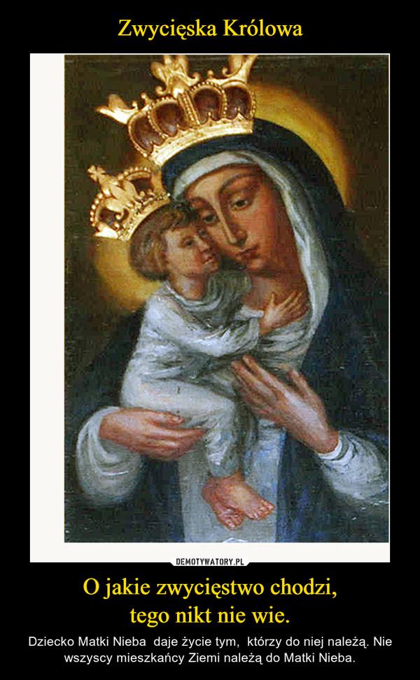O jakie zwycięstwo chodzi,tego nikt nie wie. – Dziecko Matki Nieba  daje życie tym,  którzy do niej należą. Nie wszyscy mieszkańcy Ziemi należą do Matki Nieba.