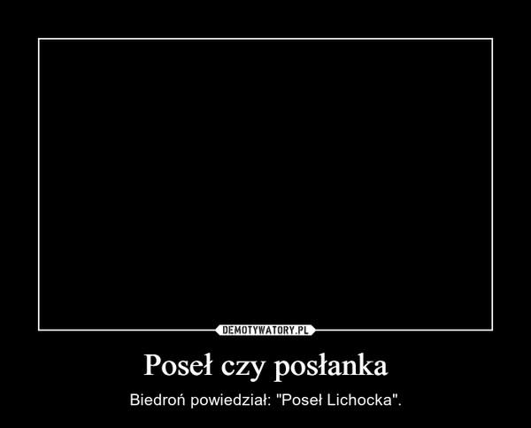 """Poseł czy posłanka – Biedroń powiedział: """"Poseł Lichocka""""."""