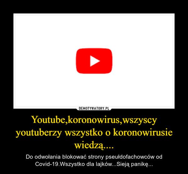 Youtube,koronowirus,wszyscy youtuberzy wszystko o koronowirusie wiedzą.... – Do odwołania blokować strony pseułdofachowców od Covid-19.Wszystko dla lajków...Sieją panikę...