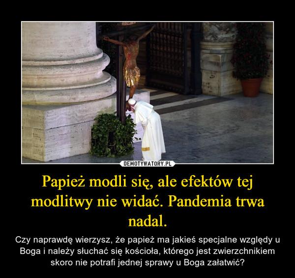 Papież modli się, ale efektów tej modlitwy nie widać. Pandemia trwa nadal. – Czy naprawdę wierzysz, że papież ma jakieś specjalne względy u Boga i należy słuchać się kościoła, którego jest zwierzchnikiem skoro nie potrafi jednej sprawy u Boga załatwić?