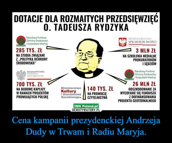 Cena kampanii prezydenckiej Andrzeja Dudy w Trwam i Radiu Maryja. –