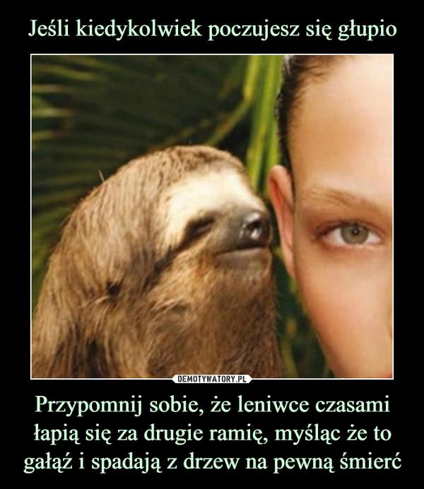 Przypomnij sobie, że leniwce czasami łapią się za drugie ramię, myśląc że to gałąź i spadają z drzew na pewną śmierć –