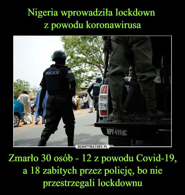 Zmarło 30 osób - 12 z powodu Covid-19, a 18 zabitych przez policję, bo nie przestrzegali lockdownu –
