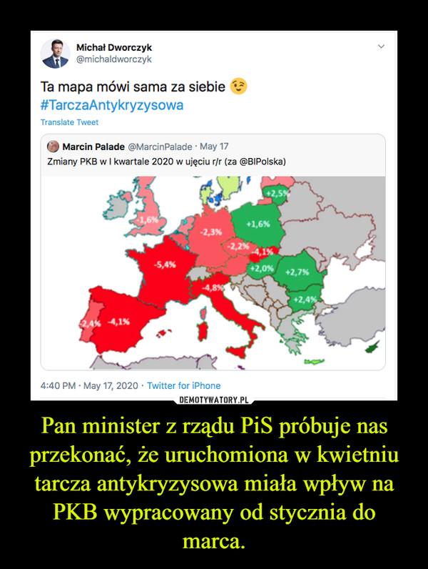 Pan minister z rządu PiS próbuje nas przekonać, że uruchomiona w kwietniu tarcza antykryzysowa miała wpływ na PKB wypracowany od stycznia do marca. –