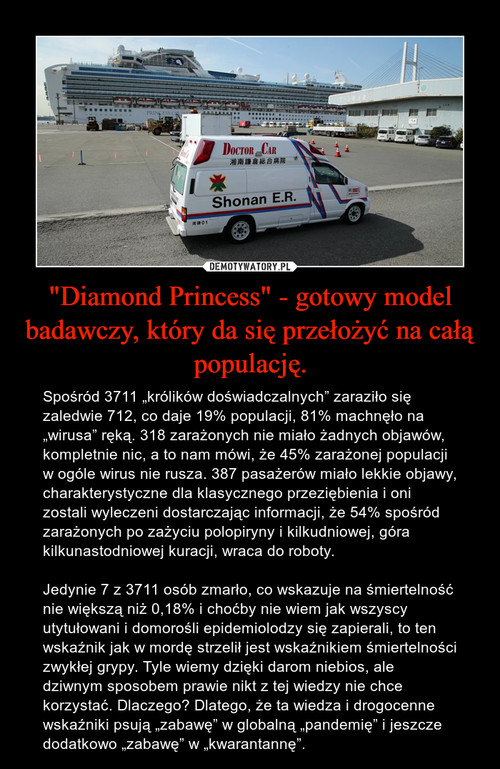 """""""Diamond Princess"""" - gotowy model badawczy, który da się przełożyć na całą populację."""