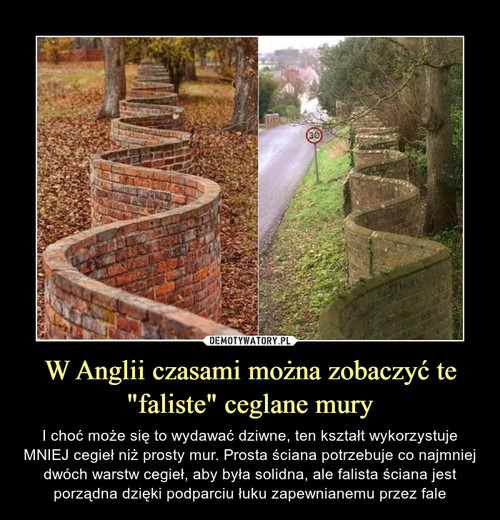 """W Anglii czasami można zobaczyć te """"faliste"""" ceglane mury"""