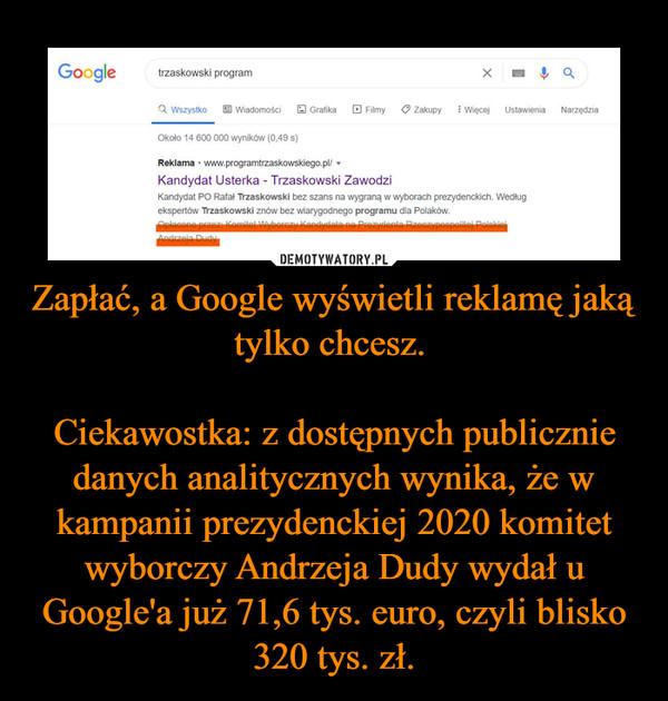 Zapłać, a Google wyświetli reklamę jaką tylko chcesz. Ciekawostka: z dostępnych publicznie danych analitycznych wynika, że w kampanii prezydenckiej 2020 komitet wyborczy Andrzeja Dudy wydał u Google'a już 71,6 tys. euro, czyli blisko 320 tys. zł. –