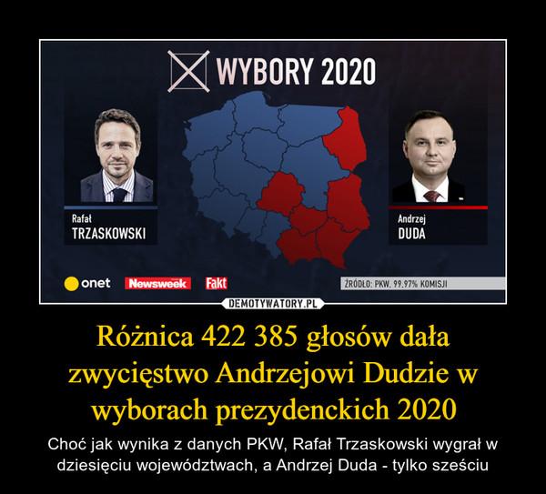 Różnica 422 385 głosów dała zwycięstwo Andrzejowi Dudzie w wyborach prezydenckich 2020 – Choć jak wynika z danych PKW, Rafał Trzaskowski wygrał w dziesięciu województwach, a Andrzej Duda - tylko sześciu
