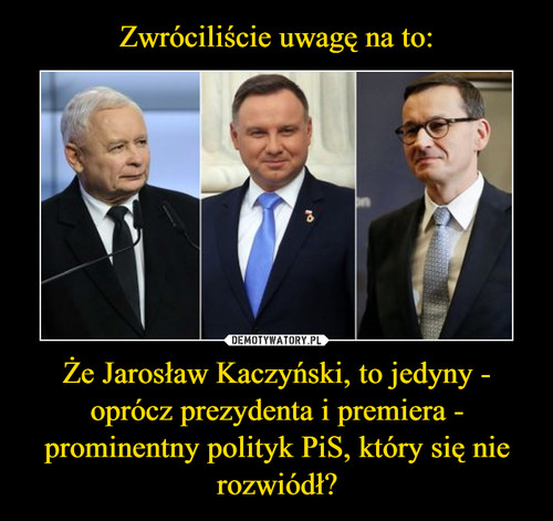 Zwróciliście uwagę na to: Że Jarosław Kaczyński, to jedyny - oprócz prezydenta i premiera - prominentny polityk PiS, który się nie rozwiódł?