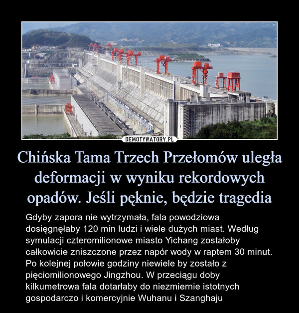Chińska Tama Trzech Przełomów uległa deformacji w wyniku rekordowych opadów. Jeśli pęknie, będzie tragedia – Gdyby zapora nie wytrzymała, fala powodziowa dosięgnęłaby 120 min ludzi i wiele dużych miast. Według symulacji czteromilionowe miasto Yichang zostałoby całkowicie zniszczone przez napór wody w raptem 30 minut. Po kolejnej połowie godziny niewiele by zostało z pięciomilionowego Jingzhou. W przeciągu doby kilkumetrowa fala dotarłaby do niezmiernie istotnych gospodarczo i komercyjnie Wuhanu i Szanghaju Gdyby zapora nie wytrzymała, fala powodziowa dosięgnęłaby 120 min ludzi i wiele dużych miast. Według symulacji czteromilionowe miasto Yichang zostałoby całkowicie zniszczone przez napór wody w raptem 30 minut. Po kolejnej połowie godziny niewiele by zostało z pięciomilionowego Jingzhou. W przeciągu doby kilkumetrowa fala dotarłaby do niezmiernie istotnych gospodarczo i komercyjnie Wuhanu i Szanghaju