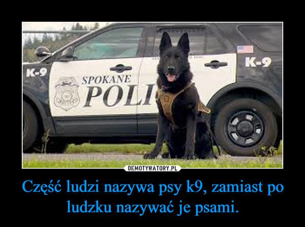 Część ludzi nazywa psy k9, zamiast po ludzku nazywać je psami. –