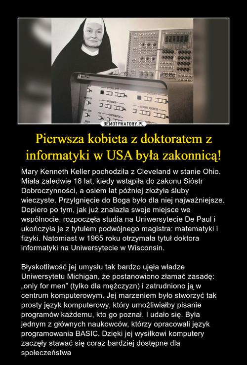 Pierwsza kobieta z doktoratem z informatyki w USA była zakonnicą!