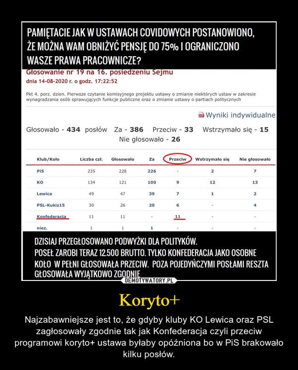 Koryto+ – Najzabawniejsze jest to, że gdyby kluby KO Lewica oraz PSL zagłosowały zgodnie tak jak Konfederacja czyli przeciw programowi koryto+ ustawa byłaby opóźniona bo w PiS brakowało kilku posłów.