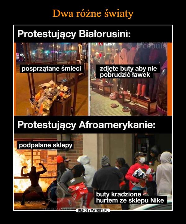 –  Protestujący Białorusini: posprzątane śmieci zdjęte buty aby nie pobrudzić ławek 74 ■ Protestujący Afroamerykanie: buty kradzione '- hurtem ze sklepu Nike