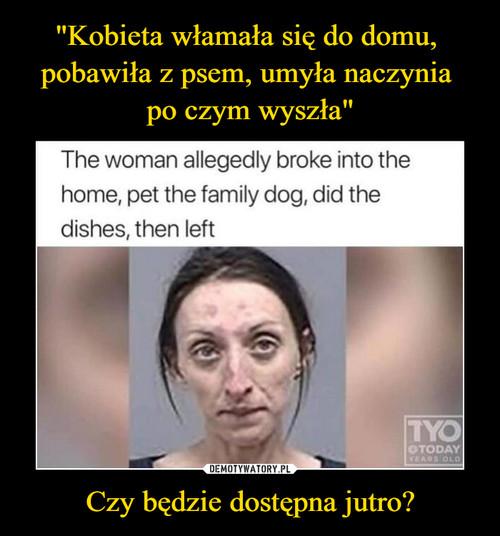 """""""Kobieta włamała się do domu,  pobawiła z psem, umyła naczynia  po czym wyszła"""" Czy będzie dostępna jutro?"""