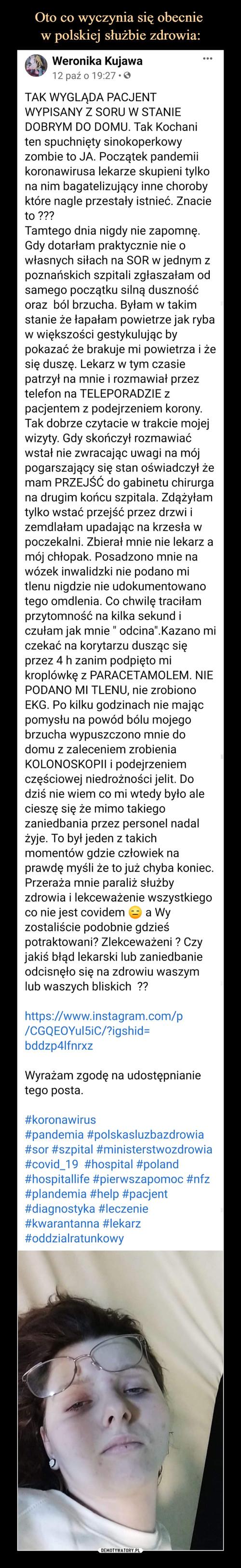 Oto co wyczynia się obecnie  w polskiej służbie zdrowia: