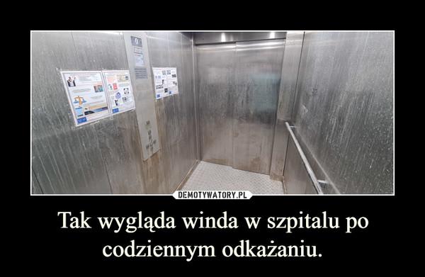 Tak wygląda winda w szpitalu po codziennym odkażaniu. –