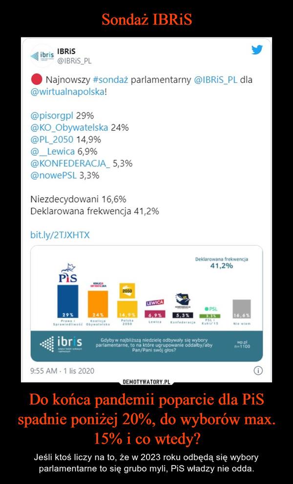 Do końca pandemii poparcie dla PiS spadnie poniżej 20%, do wyborów max. 15% i co wtedy? – Jeśli ktoś liczy na to, że w 2023 roku odbędą się wybory parlamentarne to się grubo myli, PiS władzy nie odda.