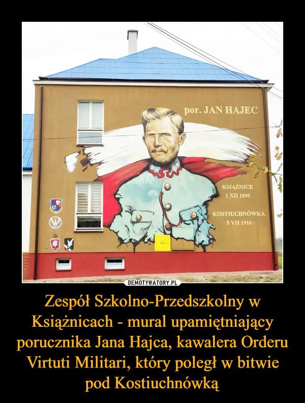 Zespół Szkolno-Przedszkolny w Książnicach - mural upamiętniający porucznika Jana Hajca, kawalera Orderu Virtuti Militari, który poległ w bitwie pod Kostiuchnówką –