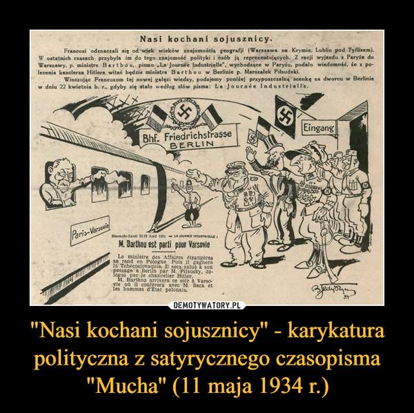 """""""Nasi kochani sojusznicy'' - karykatura polityczna z satyrycznego czasopisma """"Mucha'' (11 maja 1934 r.) –"""