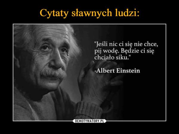 """–  """"Jeśli nic ci się nie chce, pij wodę. Będzie ci się chciało siku."""" -Albert Einstein"""