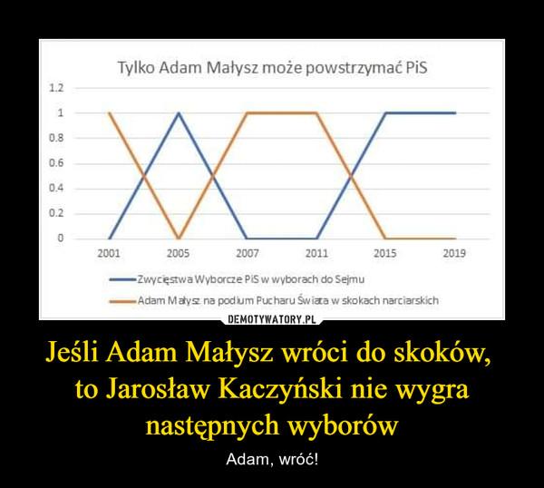 Jeśli Adam Małysz wróci do skoków, to Jarosław Kaczyński nie wygra następnych wyborów – Adam, wróć! Tylko Adam Małysz może powstrzymać PiS