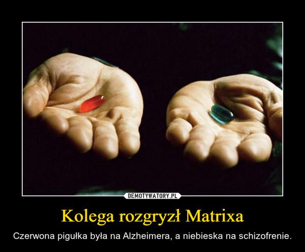 Kolega rozgryzł Matrixa – Czerwona pigułka była na Alzheimera, a niebieska na schizofrenie.