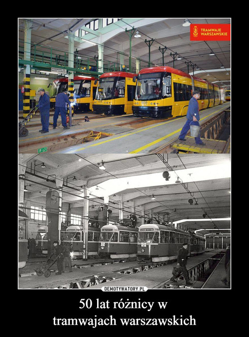 50 lat różnicy w  tramwajach warszawskich