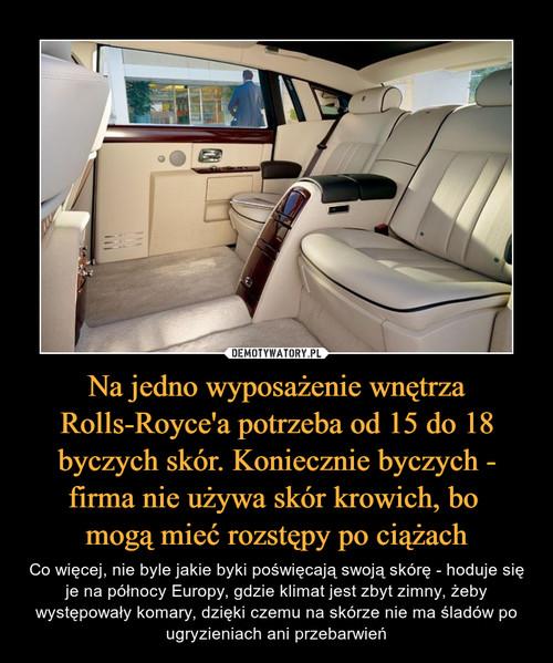 Na jedno wyposażenie wnętrza Rolls-Royce'a potrzeba od 15 do 18 byczych skór. Koniecznie byczych - firma nie używa skór krowich, bo  mogą mieć rozstępy po ciążach