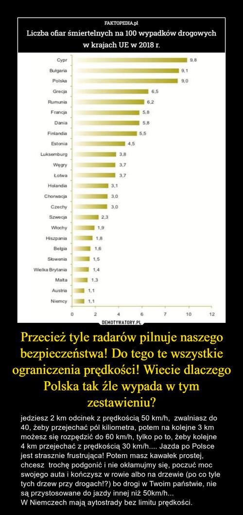 Przecież tyle radarów pilnuje naszego bezpieczeństwa! Do tego te wszystkie ograniczenia prędkości! Wiecie dlaczego Polska tak źle wypada w tym zestawieniu?