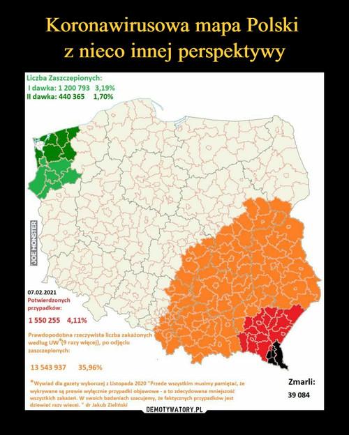 Koronawirusowa mapa Polski  z nieco innej perspektywy