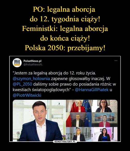 PO: legalna aborcja  do 12. tygodnia ciąży! Feministki: legalna aborcja do końca ciąży! Polska 2050: przebijamy!