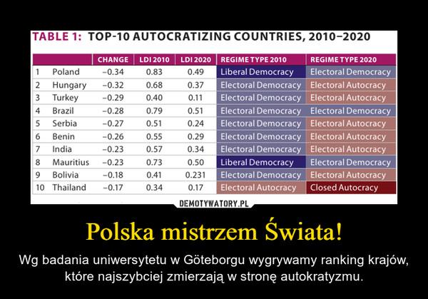 Polska mistrzem Świata! – Wg badania uniwersytetu w Göteborgu wygrywamy ranking krajów, które najszybciej zmierzają w stronę autokratyzmu.