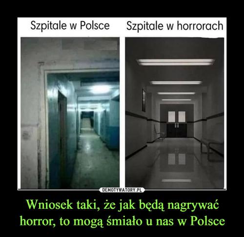 Wniosek taki, że jak będą nagrywać horror, to mogą śmiało u nas w Polsce