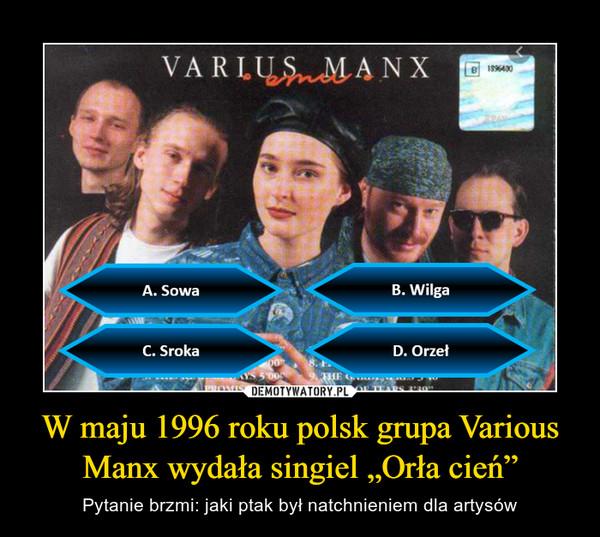 """W maju 1996 roku polsk grupa Various Manx wydała singiel """"Orła cień"""" – Pytanie brzmi: jaki ptak był natchnieniem dla artysów"""