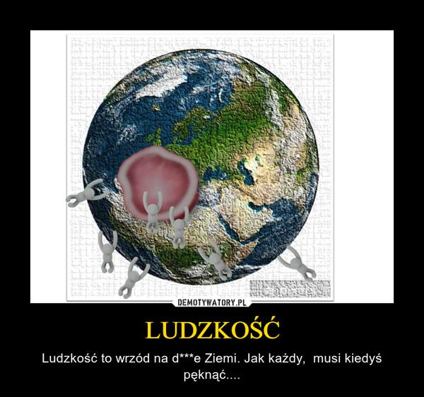 LUDZKOŚĆ – Ludzkość to wrzód na d***e Ziemi. Jak każdy,  musi kiedyś pęknąć....