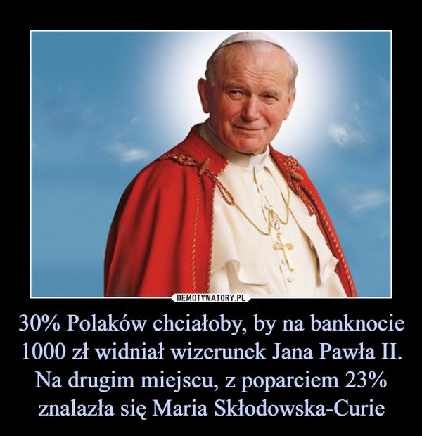 30% Polaków chciałoby, by na banknocie 1000 zł widniał wizerunek Jana Pawła II. Na drugim miejscu, z poparciem 23% znalazła się Maria Skłodowska-Curie –