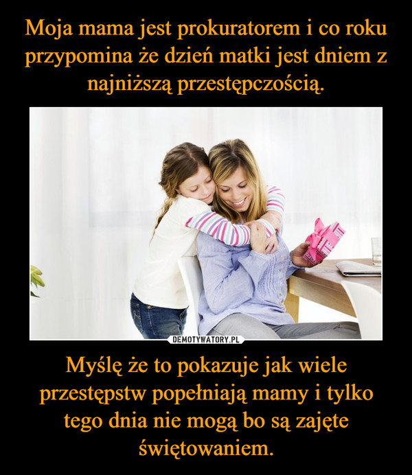 Myślę że to pokazuje jak wiele przestępstw popełniają mamy i tylko tego dnia nie mogą bo są zajęte świętowaniem. –