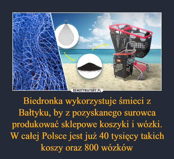 Biedronka wykorzystuje śmieci z Bałtyku, by z pozyskanego surowca produkować sklepowe koszyki i wózki. W całej Polsce jest już 40 tysięcy takich koszy oraz 800 wózków –