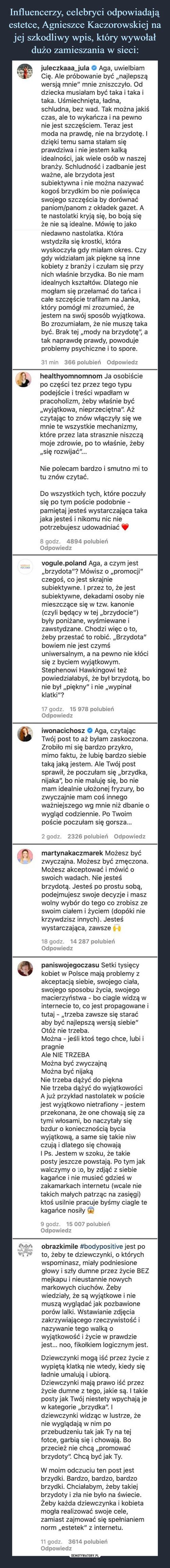 Influencerzy, celebryci odpowiadają estetce, Agnieszce Kaczorowskiej na jej szkodliwy wpis, który wywołał dużo zamieszania w sieci: