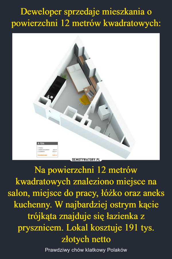 Na powierzchni 12 metrów kwadratowych znaleziono miejsce na salon, miejsce do pracy, łóżko oraz aneks kuchenny. W najbardziej ostrym kącie trójkąta znajduje się łazienka z prysznicem. Lokal kosztuje 191 tys. złotych netto – Prawdziwy chów klatkowy Polaków