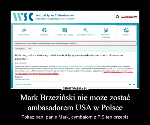 Mark Brzeziński nie może zostać ambasadorem USA w Polsce