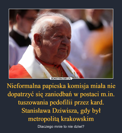 Nieformalna papieska komisja miała nie dopatrzyć się zaniedbań w postaci m.in. tuszowania pedofilii przez kard. Stanisława Dziwisza, gdy był metropolitą krakowskim