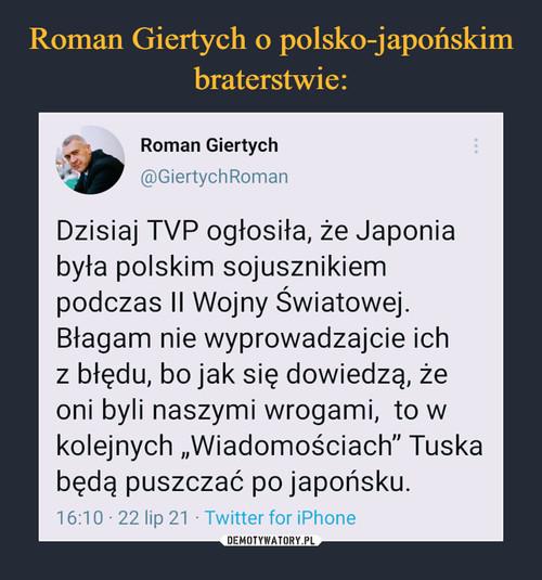 Roman Giertych o polsko-japońskim braterstwie: