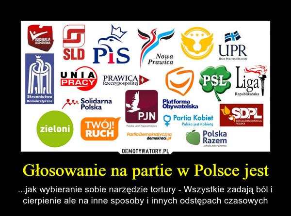 Głosowanie na partie w Polsce jest – ...jak wybieranie sobie narzędzie tortury - Wszystkie zadają ból i cierpienie ale na inne sposoby i innych odstępach czasowych