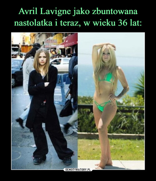 Avril Lavigne jako zbuntowana nastolatka i teraz, w wieku 36 lat: