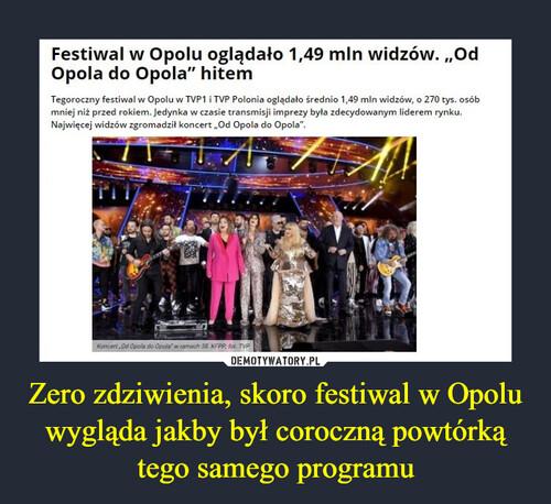 Zero zdziwienia, skoro festiwal w Opolu wygląda jakby był coroczną powtórką tego samego programu
