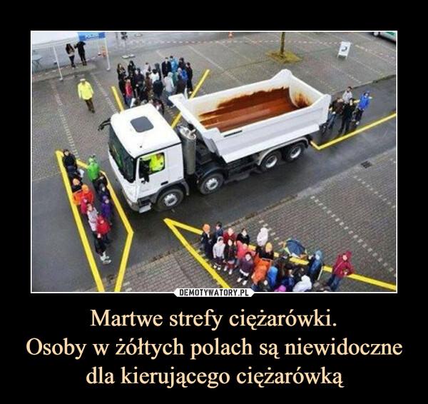 Martwe strefy ciężarówki.Osoby w żółtych polach są niewidoczne dla kierującego ciężarówką –