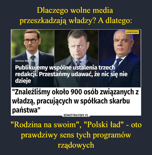 """""""Rodzina na swoim"""", """"Polski ład"""" - oto prawdziwy sens tych programów rządowych –  Wspólne śledztwo Onetu, """"Wyborczej"""" i Radia ZET. """"Znaleźliśmy około 900 osób związanych z władzą, pracujących w spółkach skarbu państwa"""""""